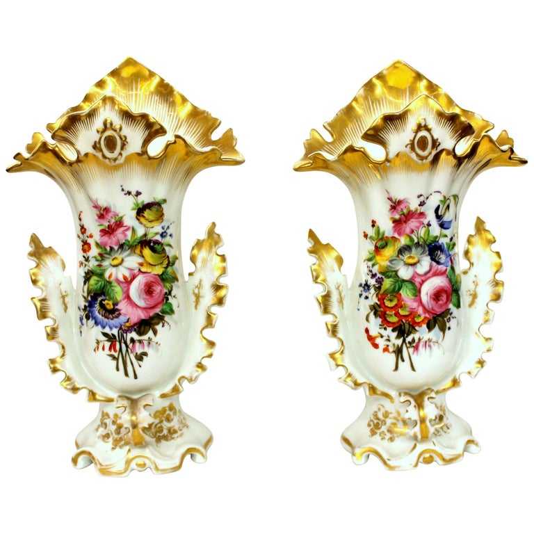 Pair of Antique French Hand Painted Porcelain Flair Vases with Botanical Sprays For Sale