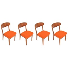 Set of Four Danish Mid-Century Modern Teak and Oak Dining Chairs