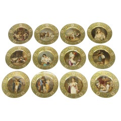 Rare Set of Twelve Late 19th Century German Dresden Porcelain Collector Plates