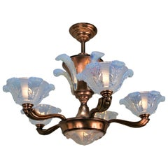 French Art Deco Opaline Glass Chandelier by Ezan, 5