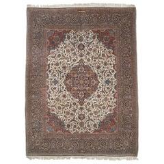 Antique Persian Dabir Kashan Rug