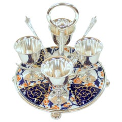 Old English Silver-Plate 4-Cup Egg Cruet with Spoons on Imari Porcelain Base