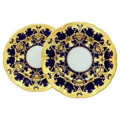 Pair of Old Minton Hand Gilt and Cobalt Porcelain Cabinet Plates
