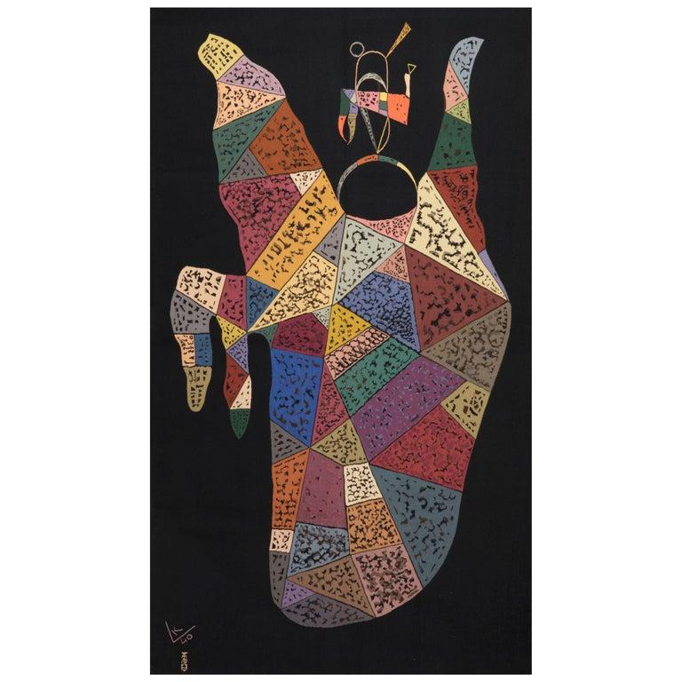 Unique Modern Tapestry Designed by Wassily Kandinsky, Sur Fond Noir For Sale
