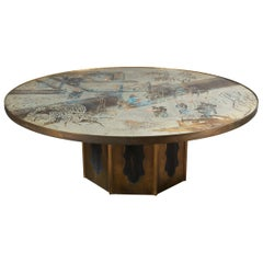 Acid Etched and Patinated Bronze Coffee Table by Philip and Kelvin LaVerne