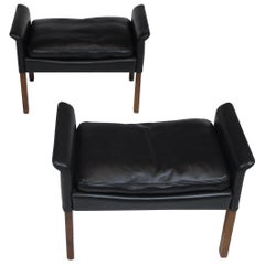 Hans Olsen Rosewood and Black Leather Ottomans, A Pair