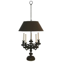 Impressive Patinated Bronze Antique Bouillotte Lamp