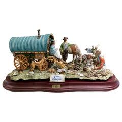Finest Quality Capodimonte Gypsy Caravan Italian Porcelain Scene by Cortese