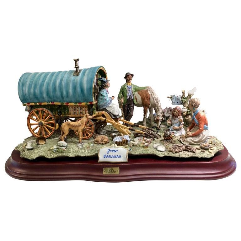 Finest Quality Capodimonte Gypsy Caravan Italian Porcelain Scene by Cortese For Sale