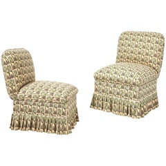 Slipper Chair with Floral Pleated Skirt