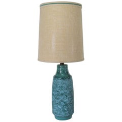 Large Mid-Century Modern Turquoise Lava Glaze Ceramic Table Lamp after Fantoni