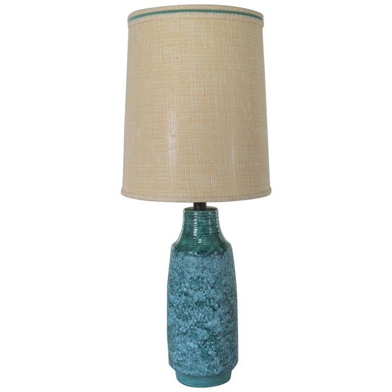 Large Mid-Century Modern Turquoise Lava Glaze Ceramic Table Lamp after Fantoni For Sale