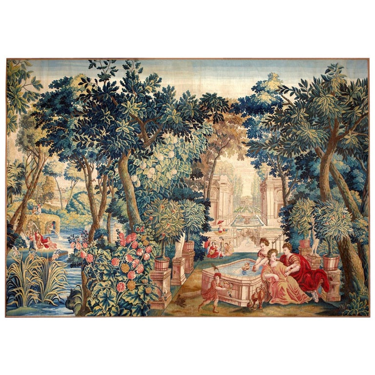 Mid-17th Century Antique Tapestry from Brussels -Allegory of Spring For Sale
