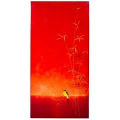 Red Lacquered Japanesque Panel by Bernard Dunand