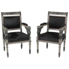 Superb Neoclassical Egyptian Revival Armchairs with Black Cowhide Upholstery