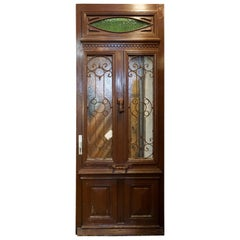 Antique Oak, Glass and Iron Work Door with Transom