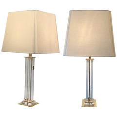 Lucite Pair of Column Lamps, France, Midcentury