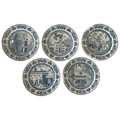 Set of Five Wedgwood Blue and White Yale University Plates