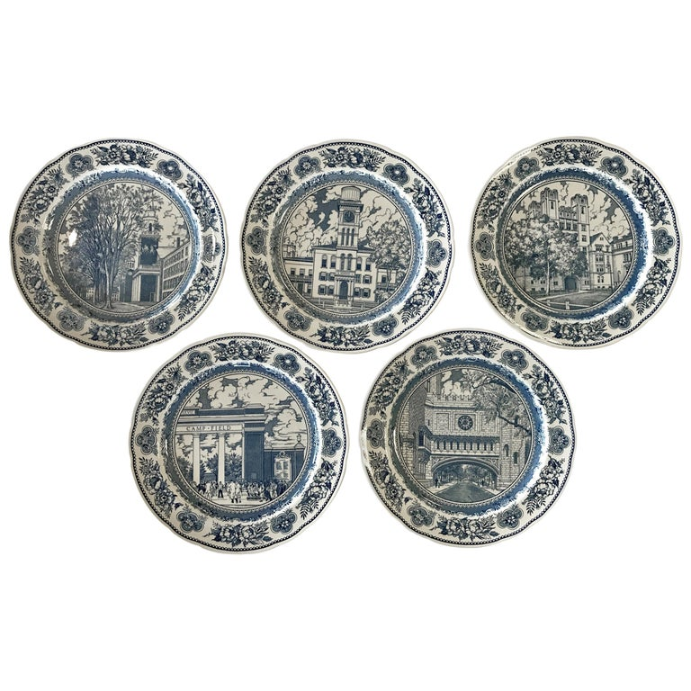 Set of Five Wedgwood Blue and White Yale University Plates For Sale