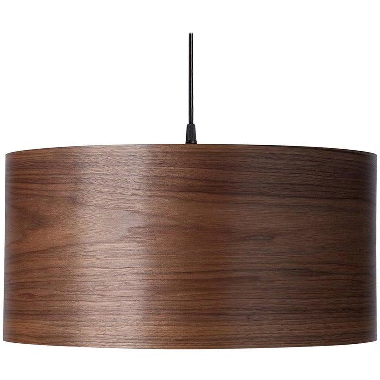 CALDOR Custom Walnut Wood Drum Chandelier Pendant For Sale
