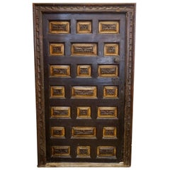 17th Century Spanish Carved Door with Frame