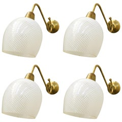 Two Pairs of Reticello Sconces by Barovier e Toso