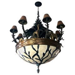 Large Exotic African Wildlife Chandelier Bronze and Verdigris Patinated Brass
