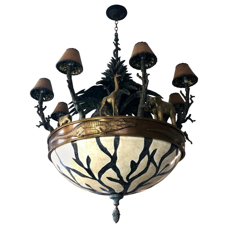 Large Exotic African Wildlife Chandelier Bronze and Verdigris Patinated Brass For Sale