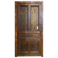 Entry Door W/ Tinted Textured Glass, circa 1850