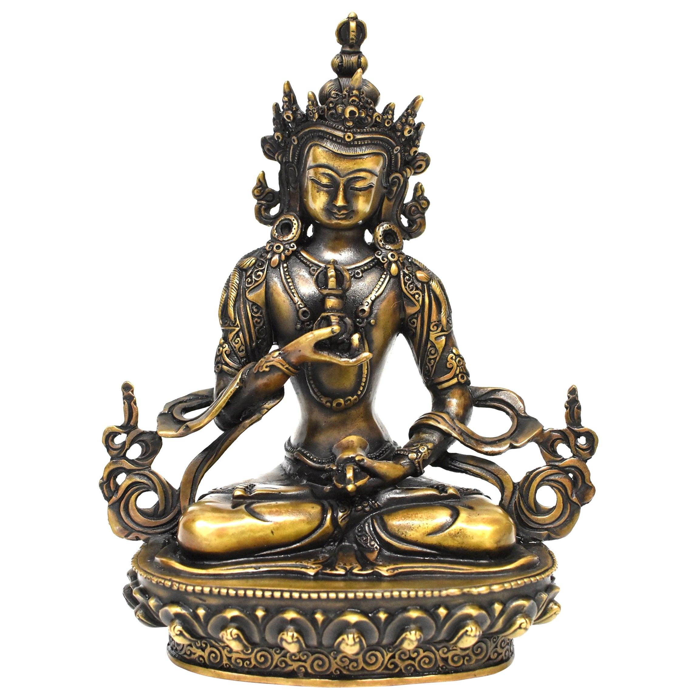 Tibetan Statue of Vajrassatva Buddha, Antique Gold Finish