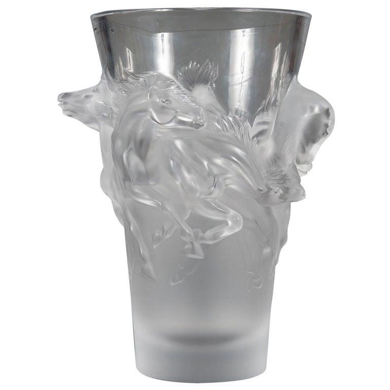 Fine Lalique France Limited Edition Equus Crystal Vase For Sale