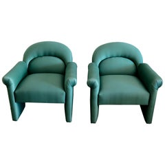 Pair of Upholstered Emerald Green Postmodern Lounge Chairs