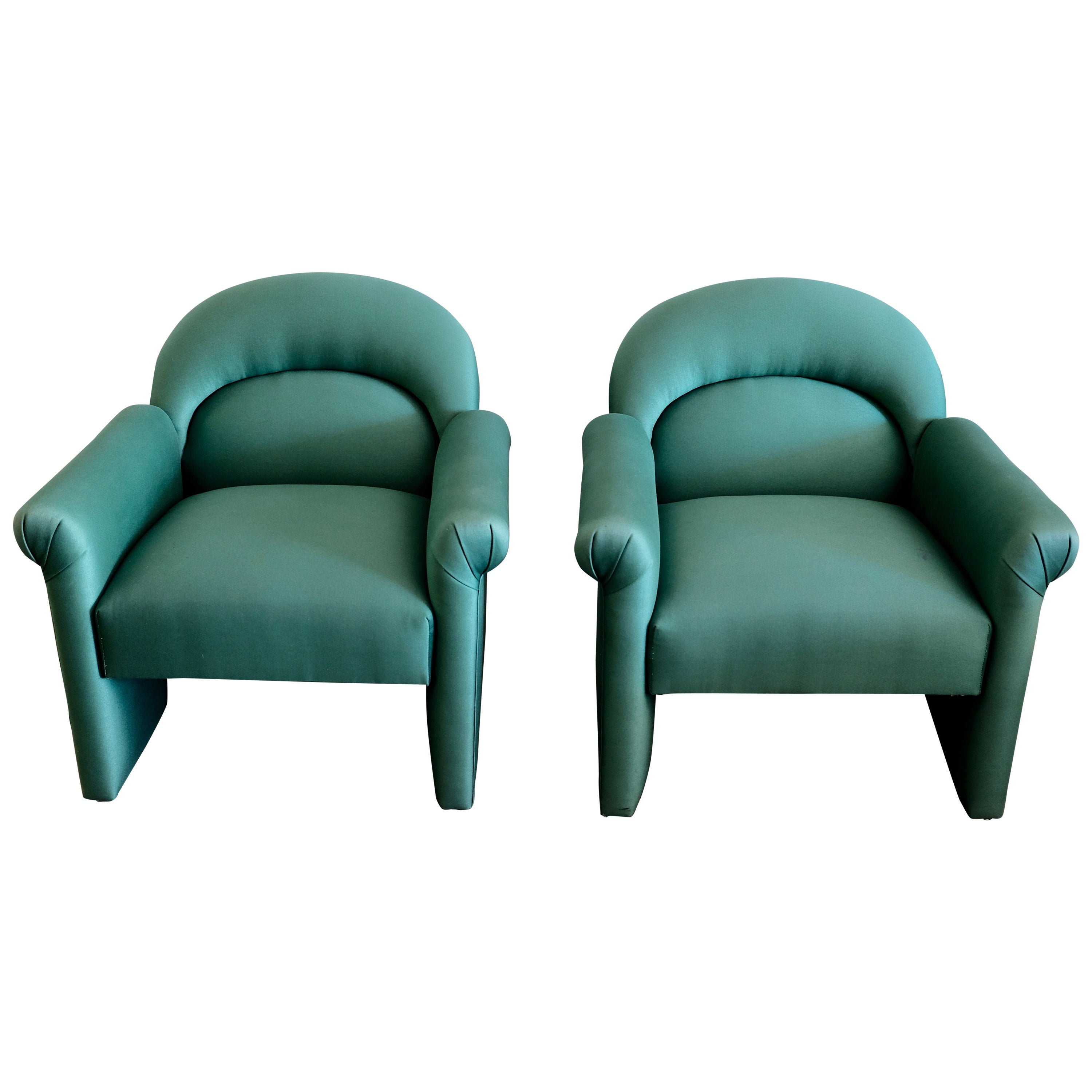 Pair of upholstered emerald green postmodern lounge chairs for sale at 1stdibs