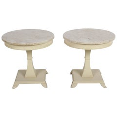 Pair of Tommi Parzinger Style Accent or Side Marble Top Tables