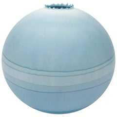 Contemporary Large Round Blue Landscape Vase by Elyse Graham