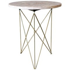 Martin Perfit for Rene Brancusi Stone and Brass Occasional Table, circa 1955