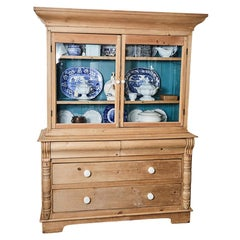 Pine Cabinet with Blue Interior