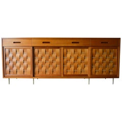 Edward Wormley for Dunbar Mahogany and Brass Basketweave Credenza, circa 1960