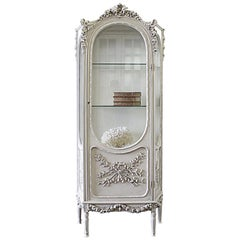 20th Century Louis XVI Style Carved Display Armoire Curio with Rose Carvings