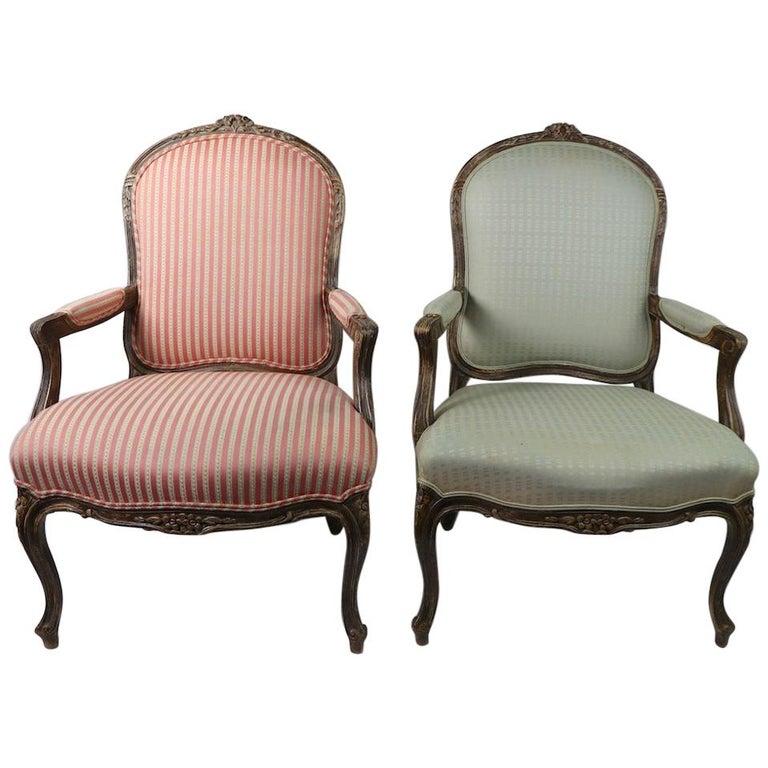 Pair of Louis XVI Style Fauteuils For Sale