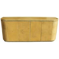 Mid-Century Modern Goatskin Sideboard with Brass Detail 1970s