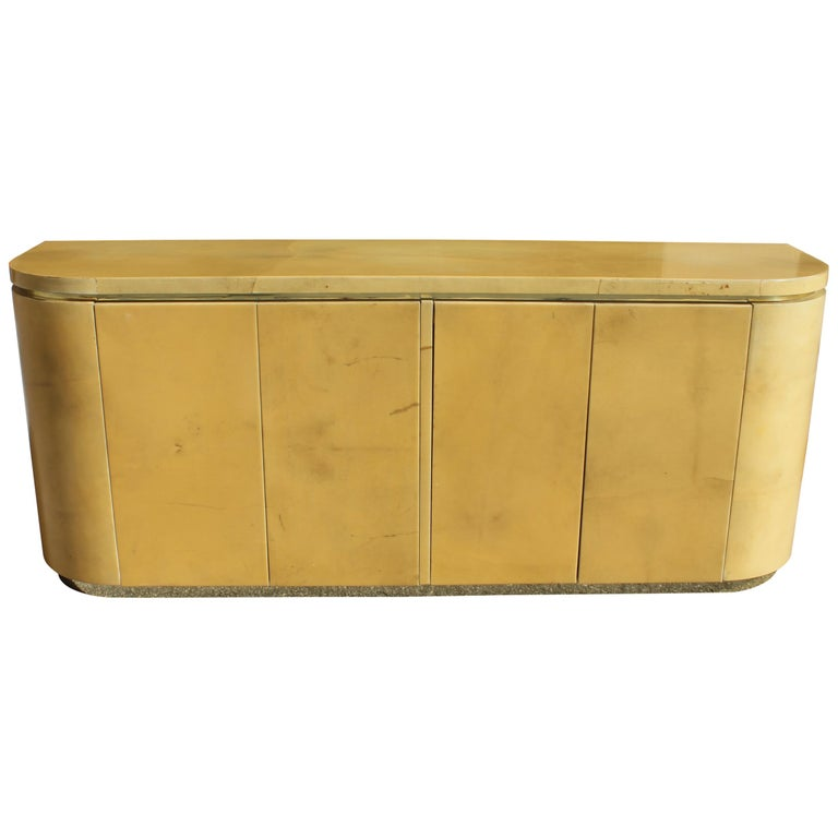 Mid-Century Modern Goatskin Sideboard with Brass Detail 1970s For Sale