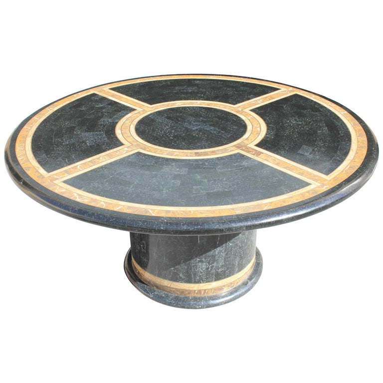 Monumental Mid-Century Modern Smith Tessellated Stone Round Dining Table, 1970s For Sale