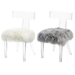 Quickship - Contemporary Lucite Side Chair Upholstered in Natural Sheepskin