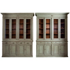 19th Century Neoclassical French Pinewood Pair of Pharmacy Bookcases