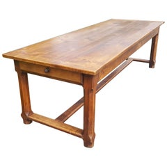 Farmhouse Table in Cherry, circa 1870...99 ins long.