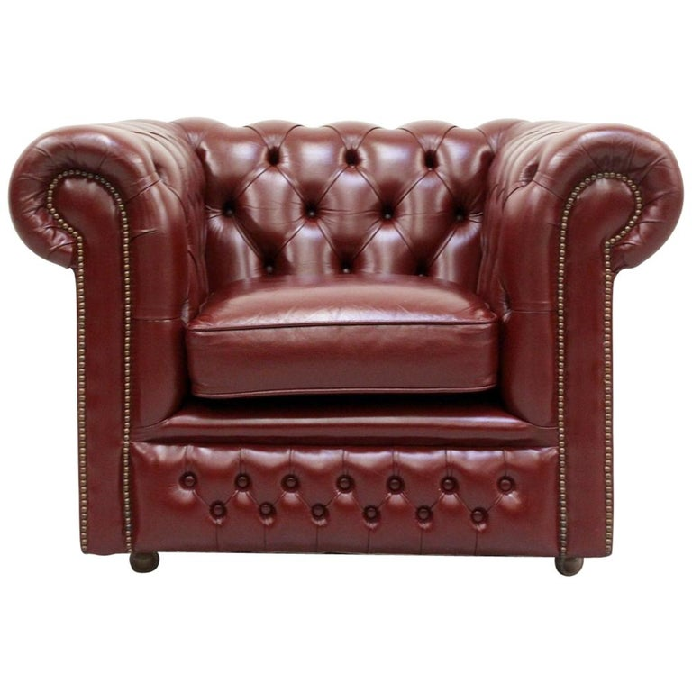Chesterfield Leather Armchair Antique Vintage English Armchair