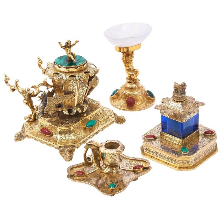 Austrian Ormolu Bronze and Hardstone Desk Set of 4 Pieces, circa 1850 For Sale