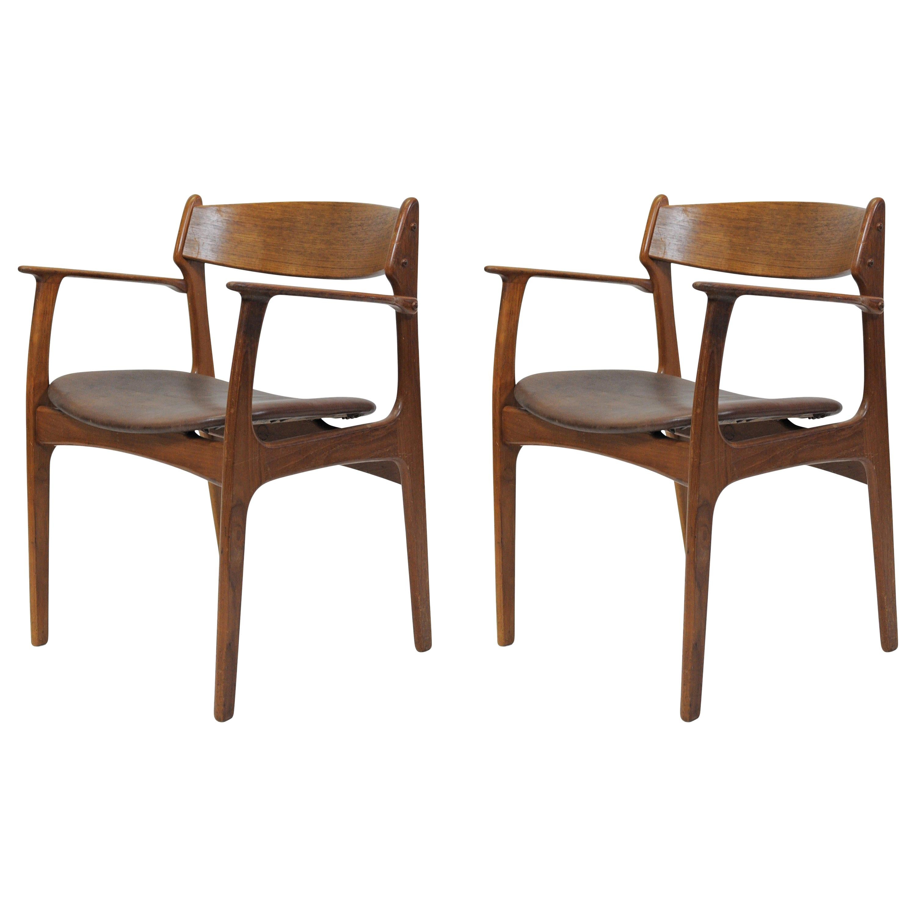 1950s Set of Two Refinished Erik Buch Armchairs in Teak, Inc Reupholstery