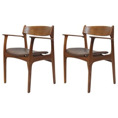 1950s Set of Two Erik Buch Model 50 Armchairs in Teak